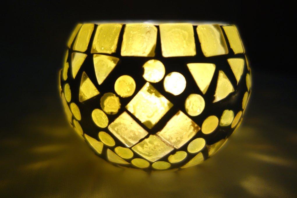 Vintage vetro portacandele tavolo Decor tealight portacandele 8 Cm Lal Haveli HND00657