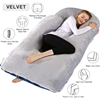 Chilling Home Pregnancy Pillow, 55 inches Full Body Pillow Maternity Pillow for Pregnant Women, Comfort U Shaped Zootzi Pillow with Removable Washable Velvet Cover, Grey 55x28 inch (Full)
