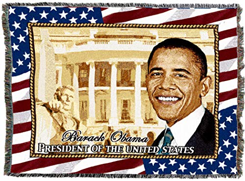 Pure Country Weavers | President Obama Tapestry Throw Blanket with Fringe Cotton USA -