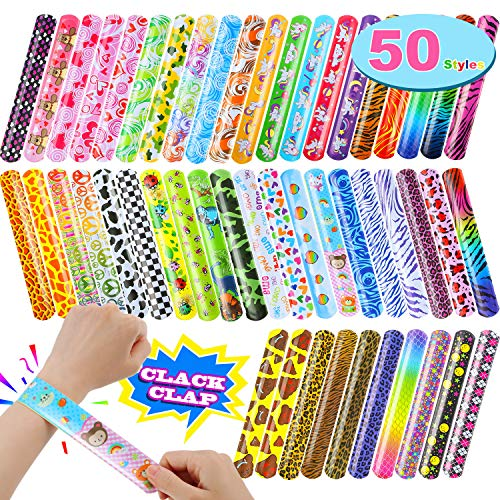 - Gejoy 50 Styles Slap Bracelets Print Design Retro Slap Bands with Unicorn Colorful Hearts Animal for Kids Adults, Party Favor, Classroom Exchange Reward, 50 Pieces