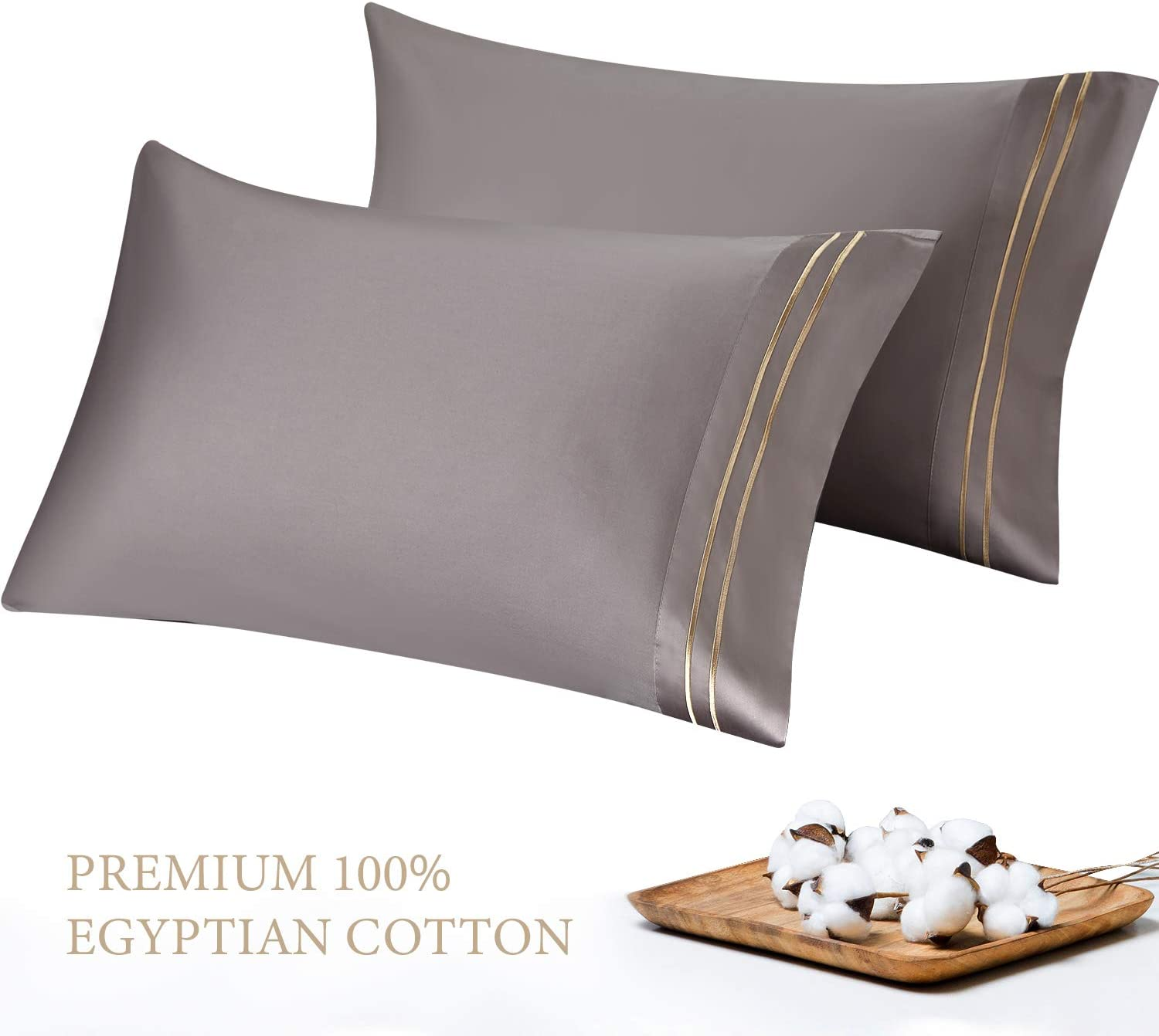 SGI bedding 600 Thread Count 100/% Egyptian Cotton Standard//Queen Pillowcase Size 20X30 White Solid Pack of 2