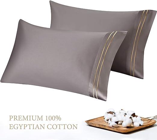 Ultra Soft Sateen Stripe Pillow Cases Set 1000 TC 100/% Cotton 2PC Pillowcases