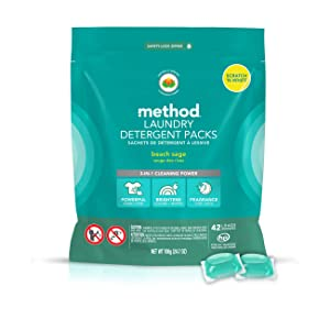 Method Laundry Detergent Packs, Beach Sage, 42 Loads per bag, 2 Count