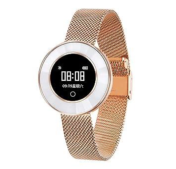 Love Life Reloj Inteligente De Las Mujeres, Seguimiento De La Actividad De Fitness Móvil para El Ritmo Cardíaco/Tensiómetro/Podómetro,Gold: Amazon.es: ...