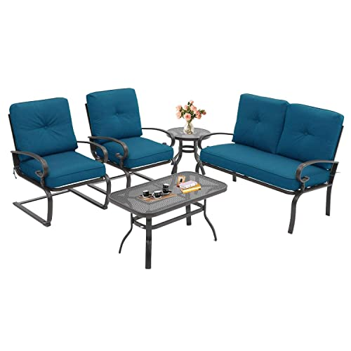 Oakmont 5Pcs Outdoor Patio Furniture Conversation Sets Loveseat, Coffee Table and Bistro Table, 2 Spring Chair -Wrought Iron Chair Set with Peacock Blue Cushions