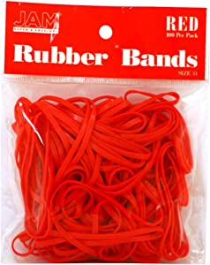 JAM PAPER Colorful Rubber Bands - Size 33 - Red Rubberbands - 100/Pack