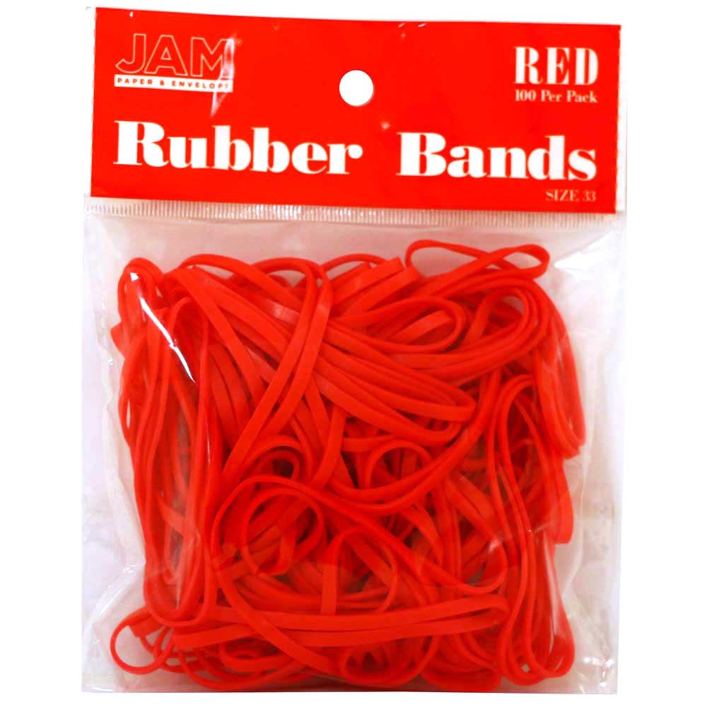 JAM Paper® Rubber Bands - Regular Size 33 - Red - 100 Color Rubber Bands Per Pack 333RBre