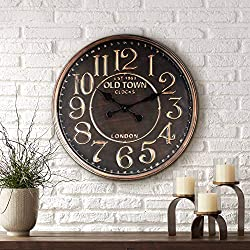 River Parks Studio 1863 Old Town London 23 1/2 Wide Rustic Vintage Wall Clock