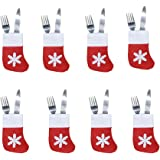 8pcs Xmas Set Cutlery Suit Decor Table Dinner Silverware Holders Pockets Knifes Forks Tableware Bags Christmas Party Decoration for Home Restaurant Dining Room