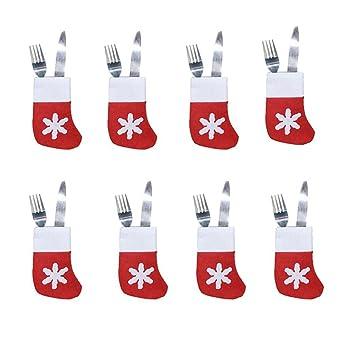 Set de fundas decorativas para cubiertos con diseño navideño, ideal para hogar, restaurante y comedor, 8 piezas: Amazon.es: Bricolaje y herramientas