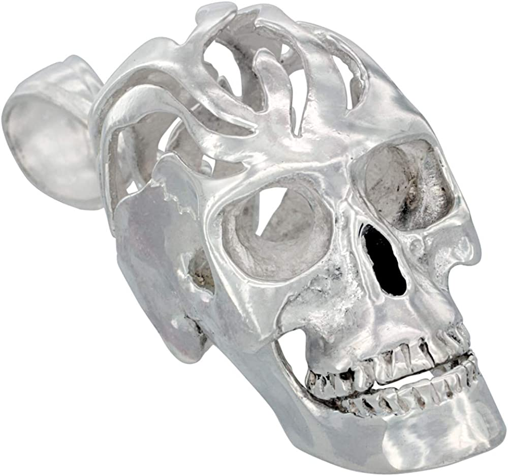 Sterling Silver Large Skull Pendant for Men with Cut-out Flames Movable Jaw 2 inches