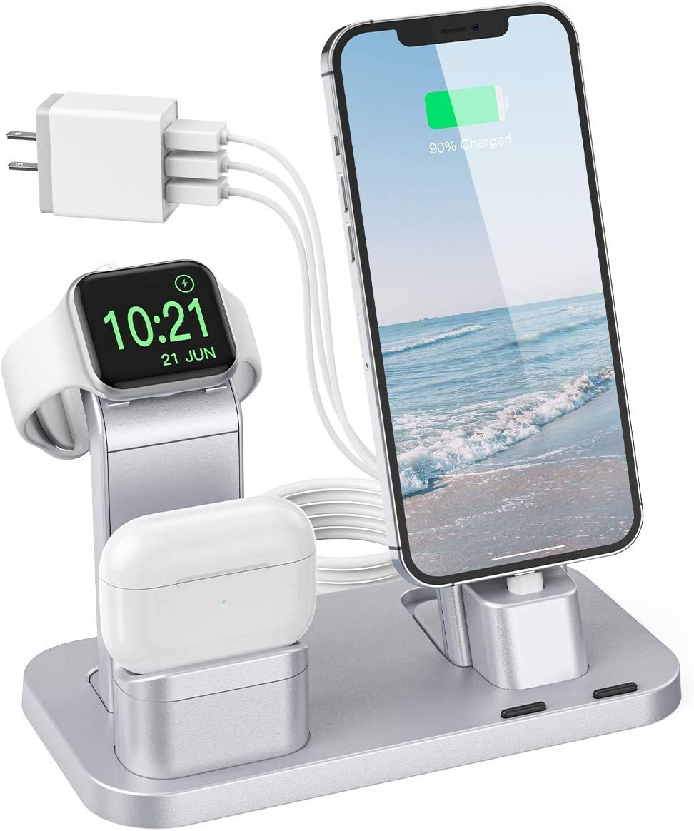 Charging Station for Apple Product, Conido 3 in 1 Charging Station for iPhone 12 mini/12 Pro Max/SE New/11 Pro Max, for AirPods/AirPods 2, for Apple Watch SE Series 6/5/4/3/2/1 Charger Silver