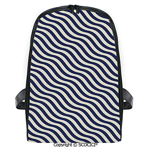 SCOCICI 3D Digital Printed Backpack Wave like Striped Lined Design on Dark Blue Background Artwork Cute Outdoor Daypack
