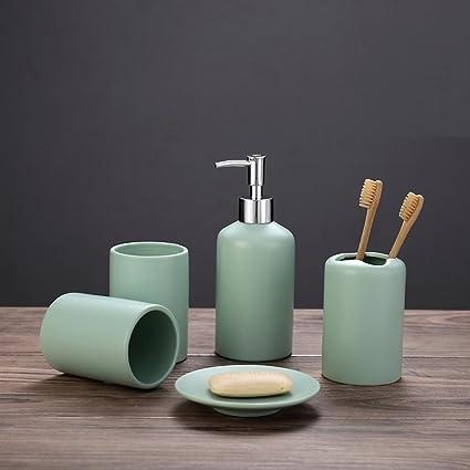 ALDONGPENG Juego de accesorios de baño de cerámica vintage creativo incluye vaso titular de cepillo de