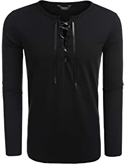 9da3e77783 COOFANDY Mens Long Sleeve Lace up Cotton T Shirts Casual Tops Tee Classic  Fit Basic Shirts