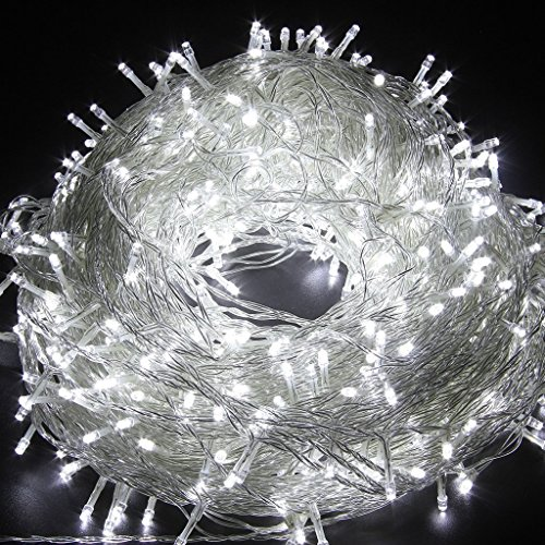 LED String Lights 66ft 200 LEDs with 8 color Changing modes Fairy Twinkle Decorative Light for Party, Wedding, Chirstmas Tree, Patio, Garden and Home Decoration + Controller (White Brightness)