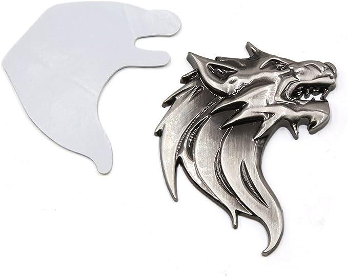 Sourcing Map 3d Wolf Kopf Design Metall Selbstklebende Aufkleber Titan Ton Für Auto Baumarkt