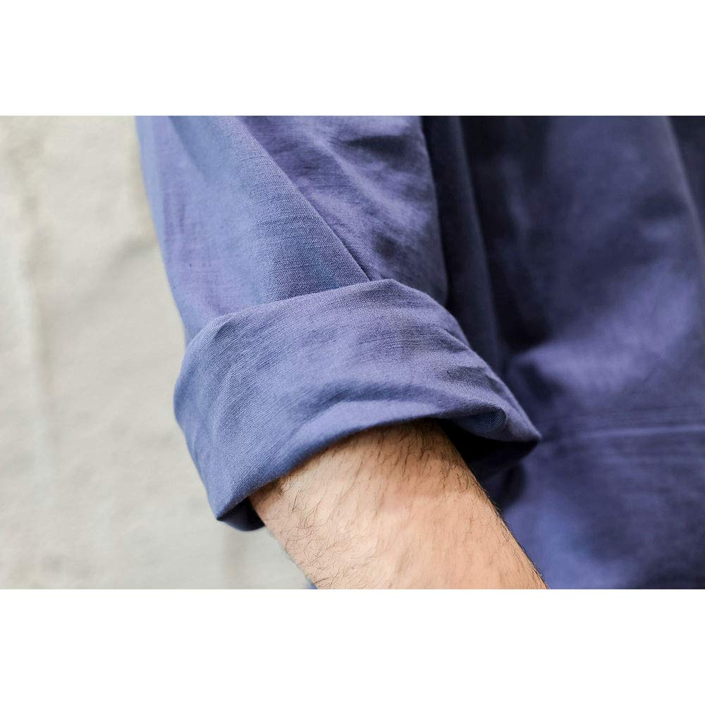 7 VEILS Men/'s Linen Robe Casual Kaftan Cotton Thobe V Neck Long Gown Side with Pockets Caftan 180527ROBE01