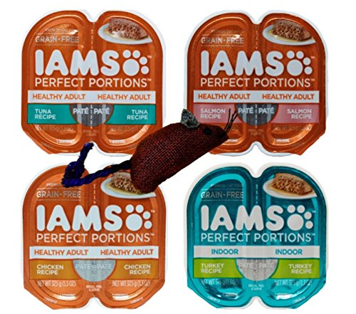 (Iams Perfect Portions Grain Free Pate Cat Food 4 Flavor 8 Can Variety with Toy Bundle, (2) each: Tuna, Chicken, Salmon, Turkey - 1.3 Ounces (8 Cans Total))
