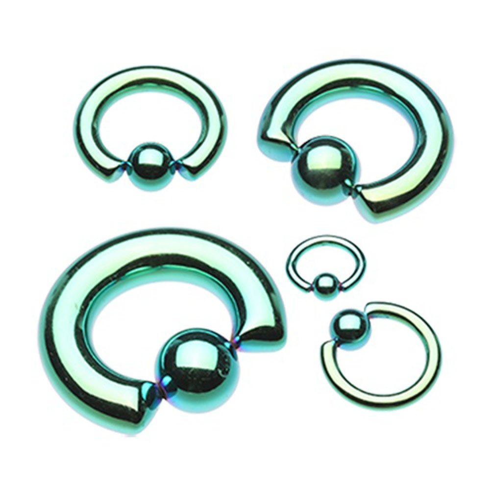 Sold Individually Inspiration Dezigns Green Colorline PVD Steel Captive Bead Ring