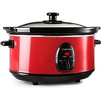 Klarstein Bristol 35 Olla de cocción Lenta 3,5 L (200W Potencia, Cocina a Baja Temperatura, sin fogones, Interior cerámica, Exterior Acero INOX Rojo)