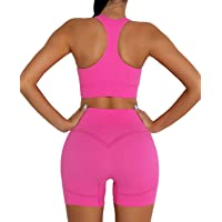 DADAB Workout Sets Two Piece Outfits for Women Clothes Gym Yoga Seamless Racerback Sports Bra Tank Tops with Biker…