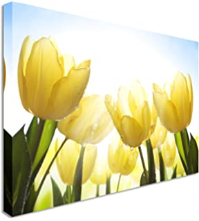 Canvas it up yellow flowers and butterfly on framed canvas pictures large yellow sunshine tulips garden floral flower canvas wall art print 12x16 inches mightylinksfo