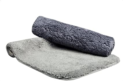 Natura Living Solid 2 Piece Cotton Bath Mat - 16x24, Charcoal and Grey
