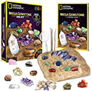 NATIONAL GEOGRAPHIC Mega Gemstone Dig Kit – Dig Up 15 Real Gems, STEM Science & Educational Toys make Grea