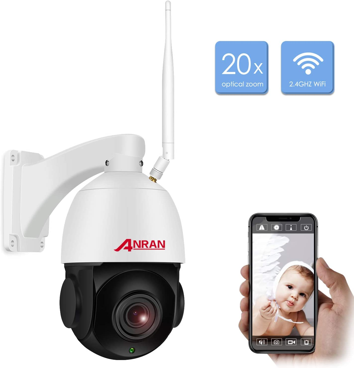 1080P PTZ WiFi Security Home Outdoor Camera,Wireless CCTV IP Surveillance Pan Tilt 20X Optical High Speed Zoom Dome Camera with 32GB SD Card Two Way Audio,98ft Night Vision,Motion Detection ANRAN