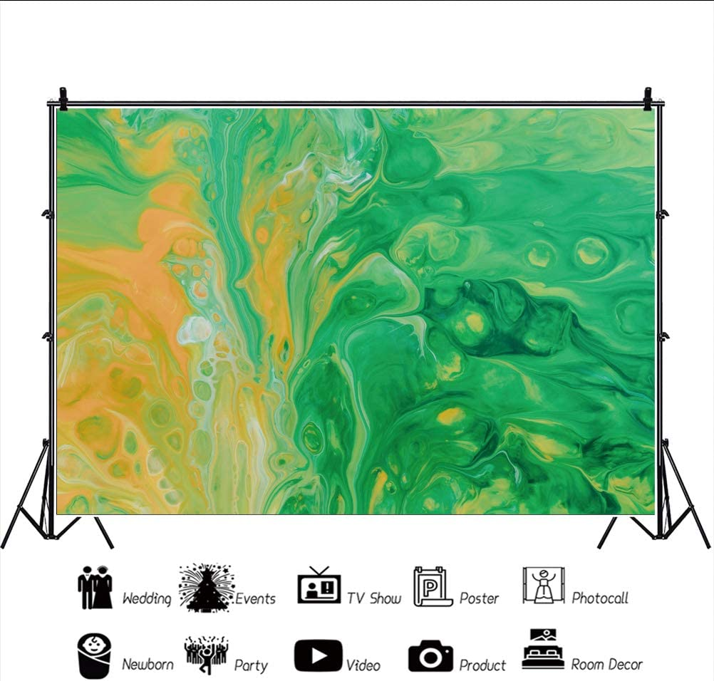 YEELE Abstract Green Photography Background Modern Art Painting Artistic Portrait Backdrop Wedding Birthday Western Geographical Theme Photoshoot Prop Photo Portrait Digital Wallpaper 5x3ft