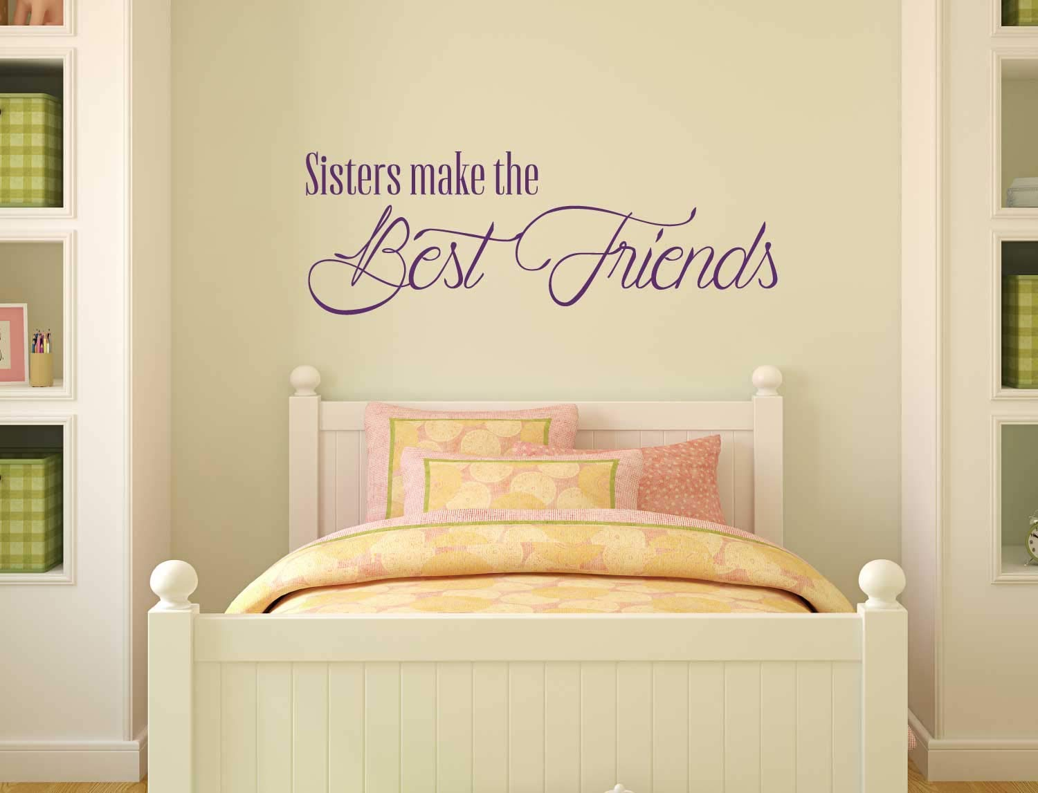 Sister Decal Vinyl Quote Home Decor: 'Sisters Make the Best Friends' | Wall Lettering Design for Girls, Women, Siblings | Black, White, Pink, Purple, Red, Blue, Other Colors | Small, Large Sizes