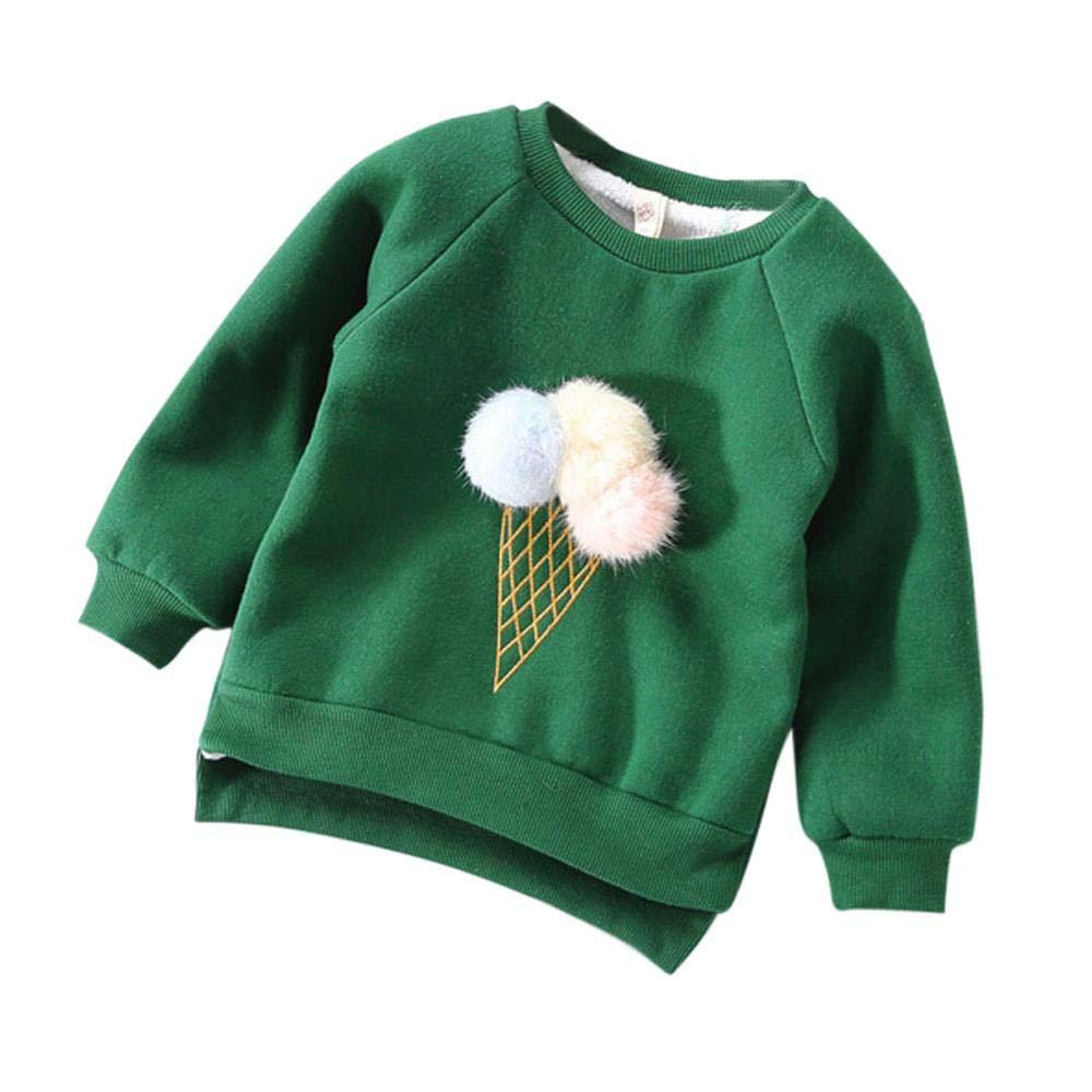 Girls Sweatshirt,1-5 Years Old Zerototens Toddler Baby Girls Cute Long Leeve O Neck Plush Ball Pullover Sweatshirt Tops Autumn Winter Thick Warm T-Shirt Blouse Tops Outwear