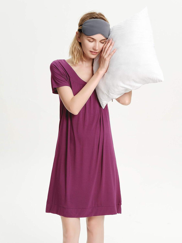 SIORO Womens Nightgown Short Sleeve Nightshirt for Women Comfy Modal Cotton Sleep Shirt Pleated V-Neck Sleepwear Loungewear