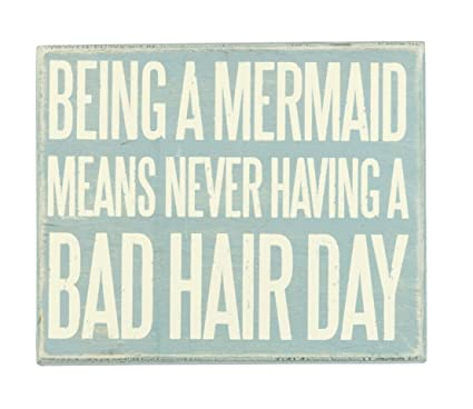 JennyGems Wooden Box Sign Being A Mermaid Means Never Having A Bad Hair Day    Beach