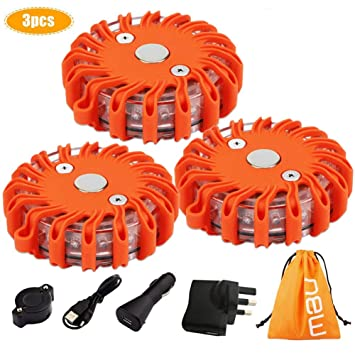 Led Road Flares Red Safety Flashlight Beacons Riding Vehicle Rechargeable Flashing Warning Lights Roadside Emergency Disc Beacon Camping & Hiking