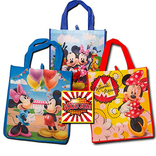 Disney Mickey Mouse Tote Bags Value Pack -- 3 Reusable Tote Party Bags (Featuring Mickey and Minnie Mouse), Bonus Sticker]()