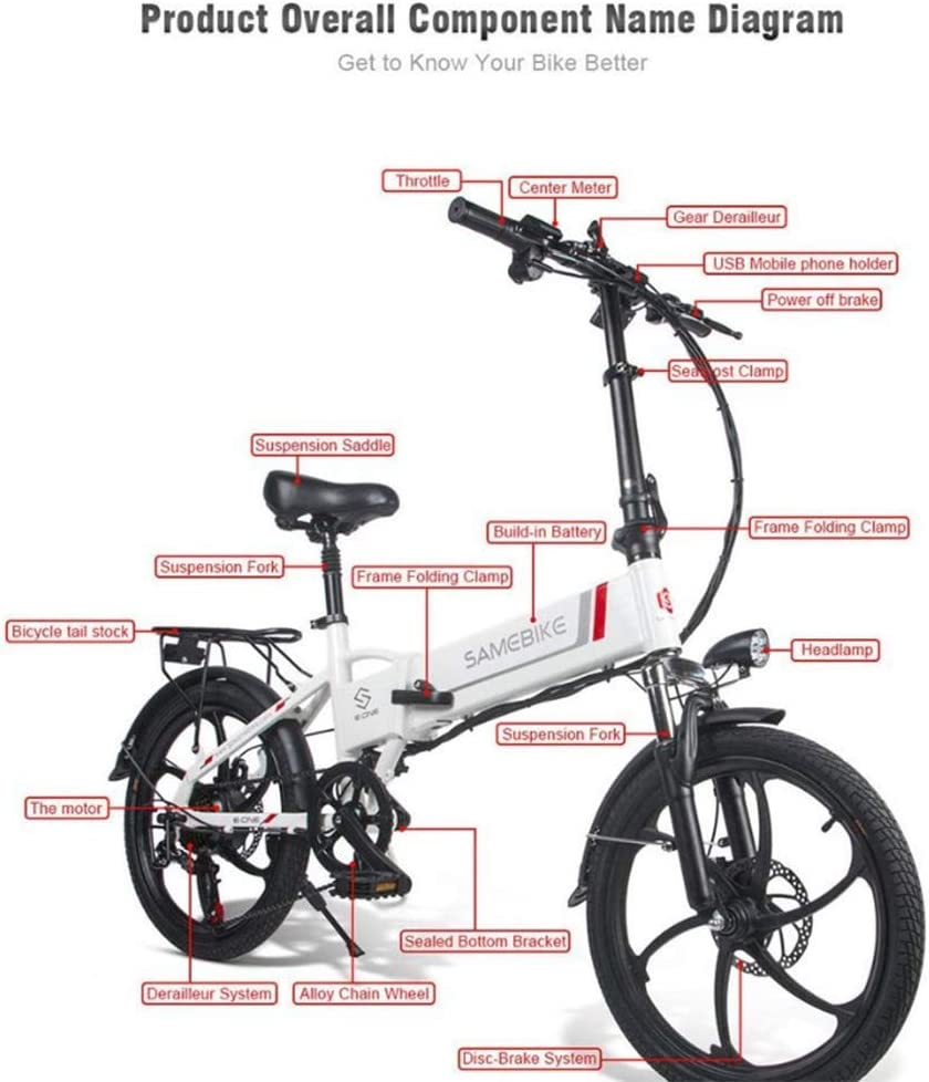 SHIJING Samebike 20LVXD30 Portatile Pieghevole Bici elettrica 20 Pollici Pneumatici 350W Motore ebike Max 35 chilometri allora e Bici per Adulti