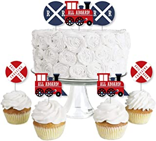 product image for Railroad Party Crossing - Dessert Cupcake Toppers - Steam Train Birthday Party or Baby Shower Clear Treat Picks - Set of 24