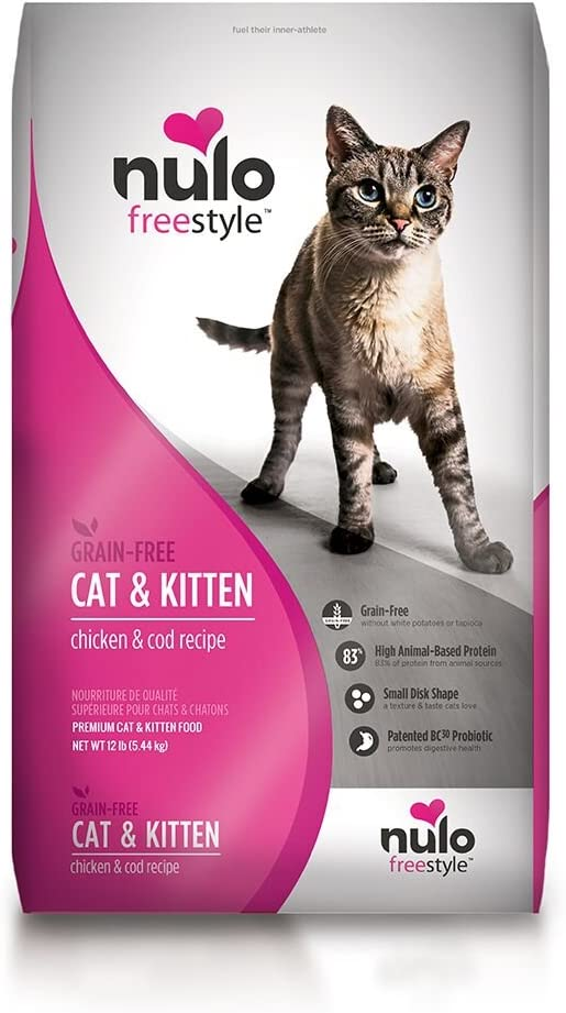 Nulo Adult & Kitten Grain Free Dry Cat Food with BC30 Probiotic, Chicken or Turkey Recipe