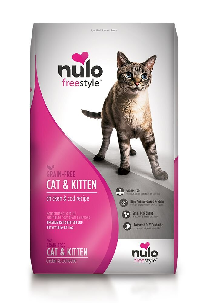 Nulo Adult & Kitten Grain Free Dry Cat Food With Bc30 Probiotic (Chicken, 12Lb Bag) by Nulo