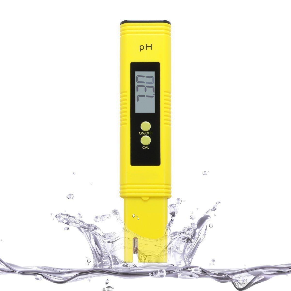 ABREOME Testeur de ph Digital Testeur Mètre avec ATC pour l'aquarium, PH pour urine et piscine–plage valeur Compteur PH 0.00–14.00pH, jaune