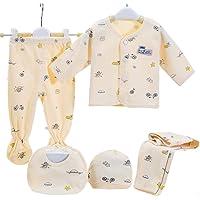 5PCS Newborn Layette Set Infant Boys Girls Baby Cotton Clothes 0-6M Tops Hat Pants Suit Essentials Outfit Sets