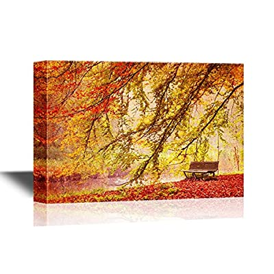 Canvas Wall Art - Bench Under a Bright Colored Autumn Tree - Gallery Wrap Modern Home Art | Ready to Hang 32