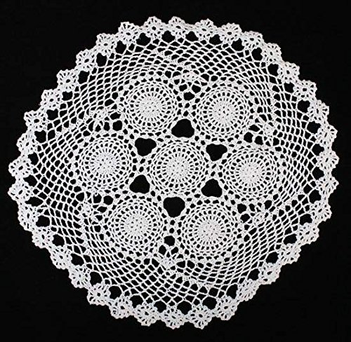 Hand Crocheted Large Round White Doily for Home Decor and Designing by Unknown