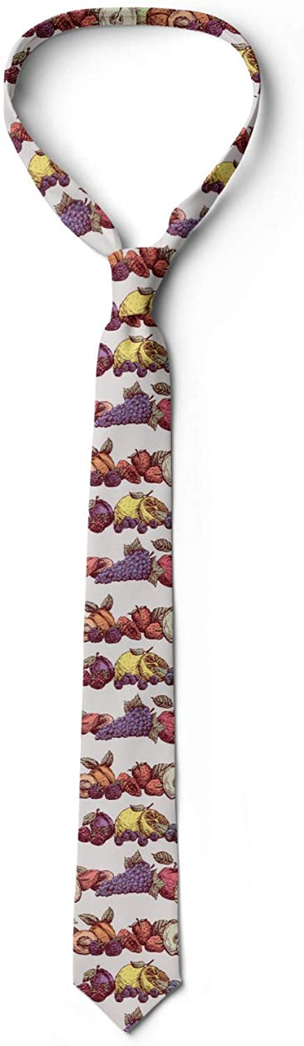 Pearl and Multicolor High Detailed Ripe Fruits 3.7 Ambesonne Mens Tie