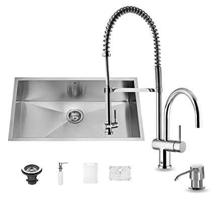 Vigo All In One 30 Inch Undermount Stainless Steel Kitchen Sink And