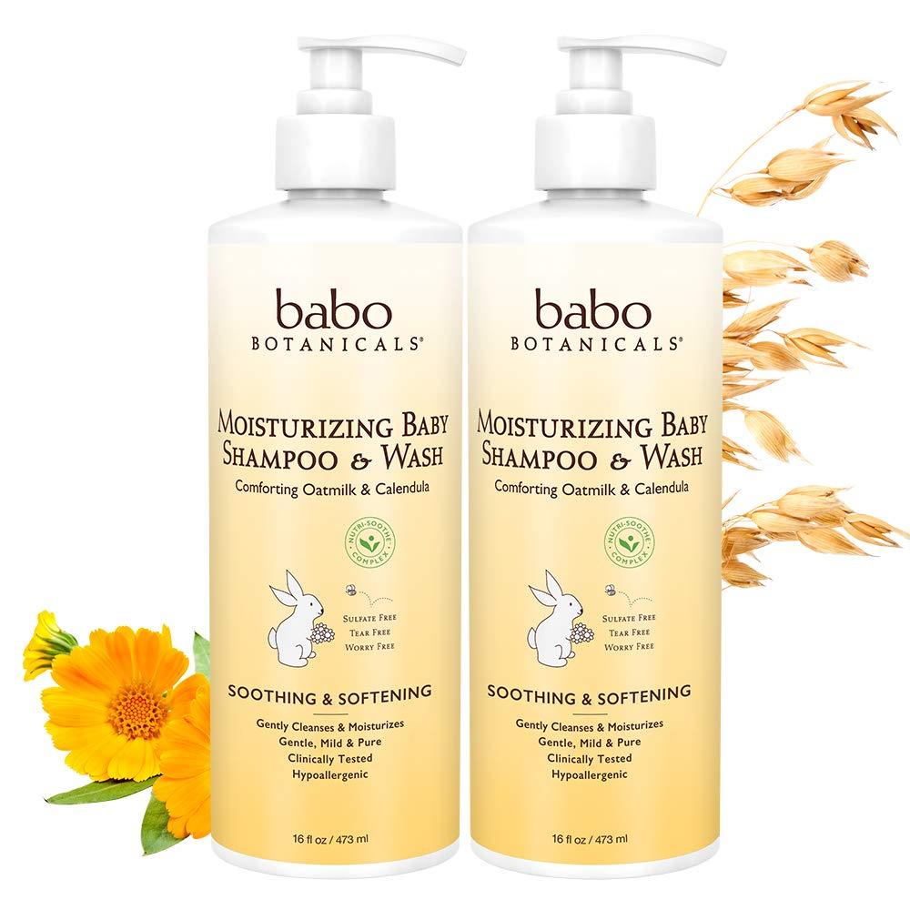 Babo Botanicals Babo Botanicals Moisturizing Baby Shampoo and Wash, Oatmilk Calendula, Pack of 2, 16 Fl oz. by Babo Botanicals