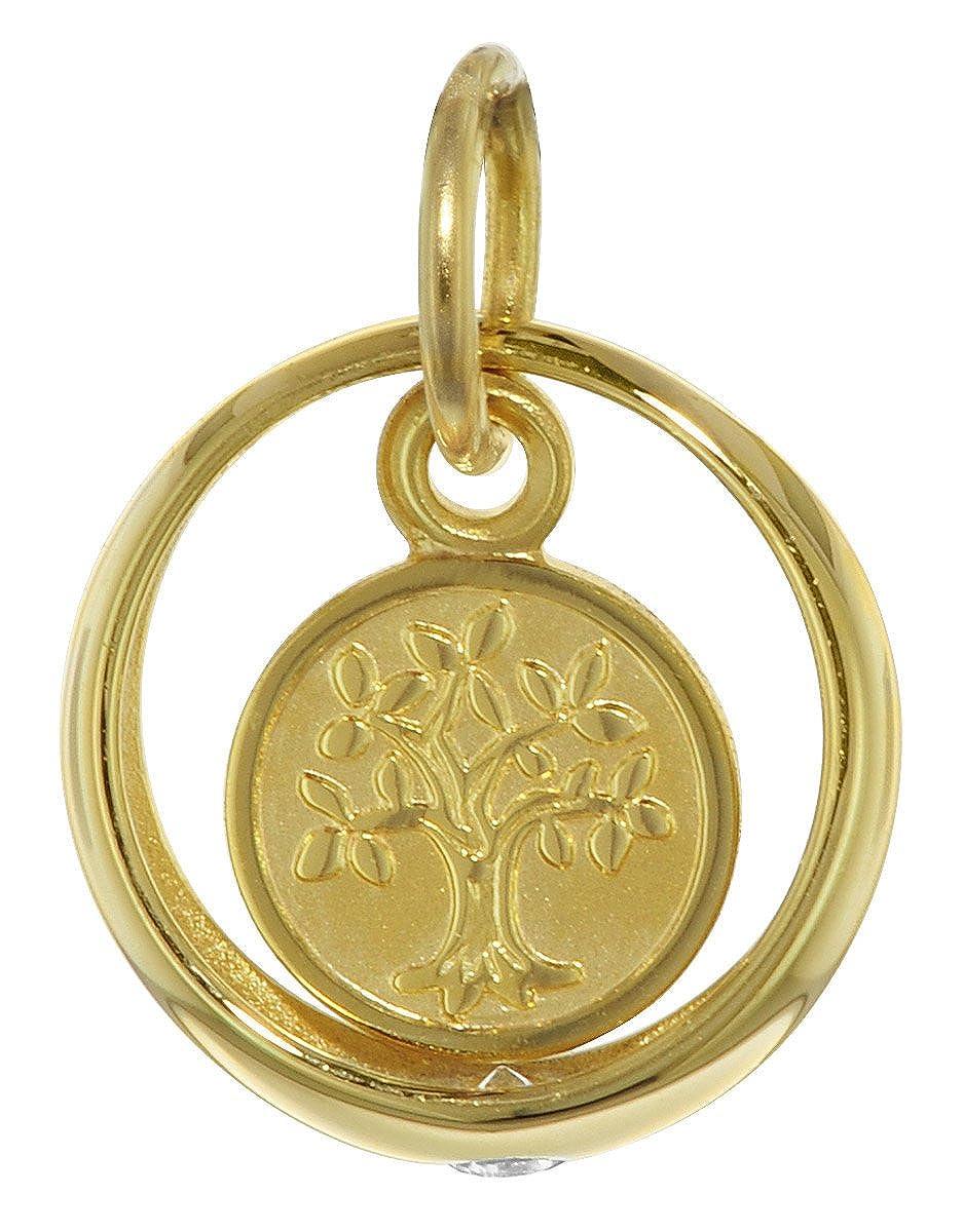 trendor Gold Taufring mit Lebensbaum 08275