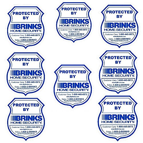8 BRINKS Home Security Alarm Warning Stickers - 3.5 x 3.75